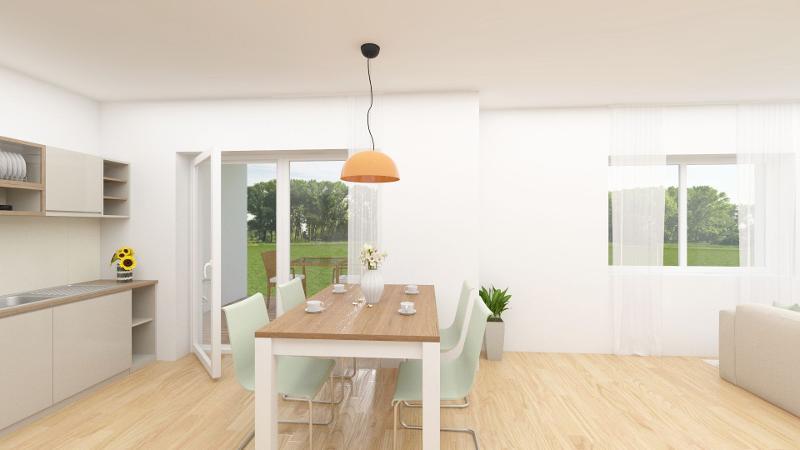 Wohn-, Ess- und Kochbereich mit Zugang zum Balkon