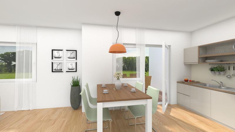 Wohn-, Ess- und Kochbereich mit Zugang zur Terrasse